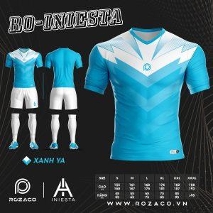 Áo bóng đá k logo Iniesta màu xanh da trời