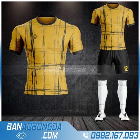 Quần áo bóng đá không logo màu vàng đồng mới nhất