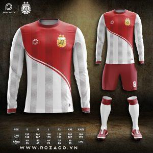 Áo đá bóng Argentina dài tay màu đỏ trắng