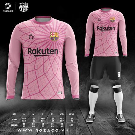 áo bóng đá Barca dài tay màu hồng