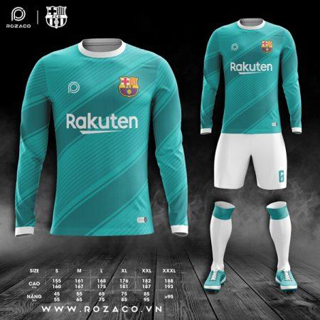 Mẫu áo Barcelona dài tay màu xanh ngọc