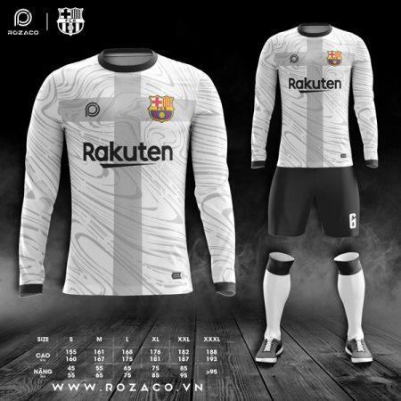 áo đấu bóng barcelona dài tay màu trắng