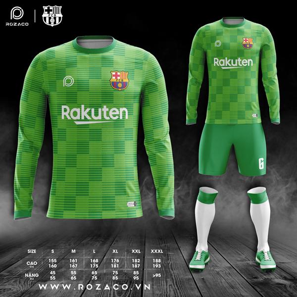 áo Barcelona dài tay màu xanh lá
