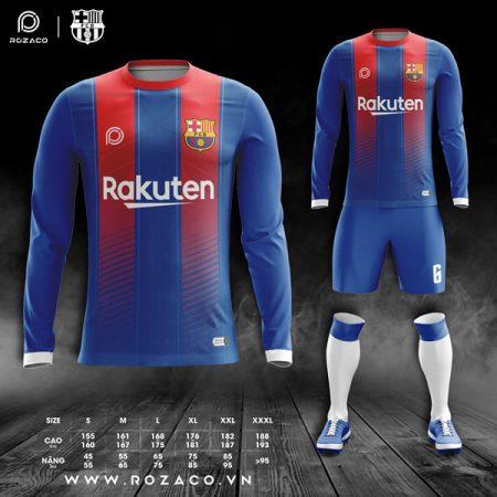áo đấu Barcelona màu xanh dài tay