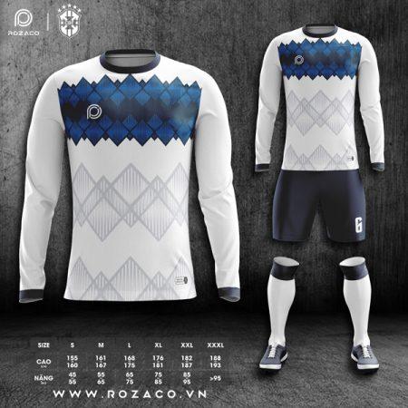 Quần áo bóng đá không logo màu trắng dài tay