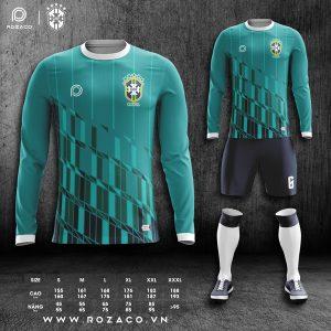 áo đội tuyển Brazil màu xanh lý dài tay