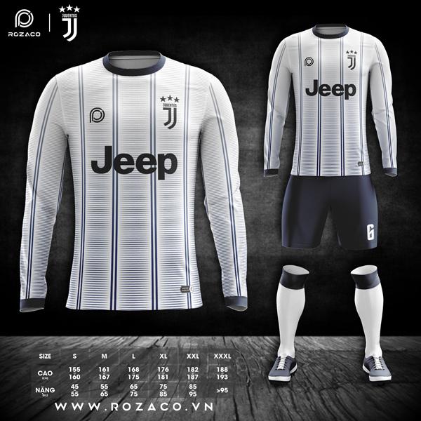 áo đấu bóng đá Juventus dài tay màu trắng