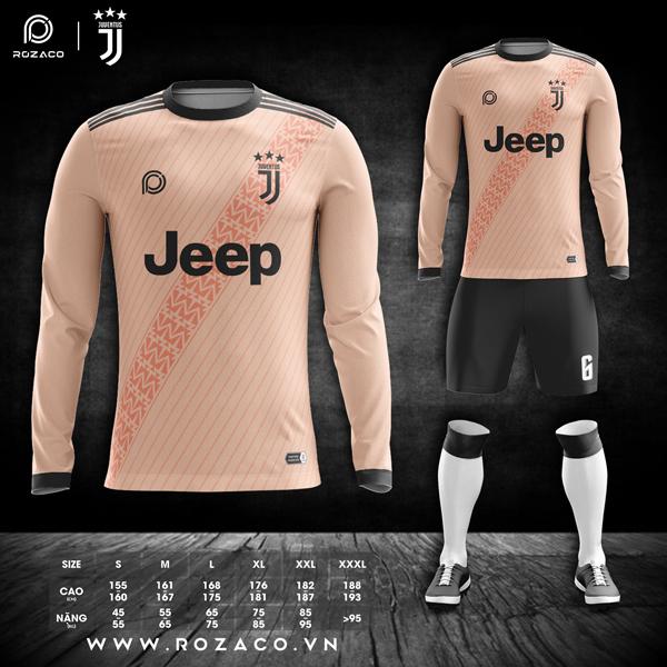 áo clb Juventus dài tay màu cam nhạt