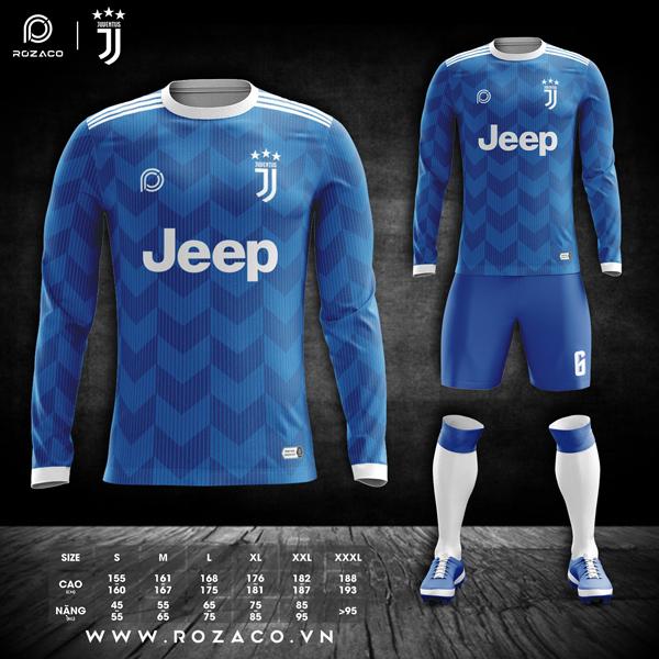 áo đá banh Juventus dài tay màu xanh dương