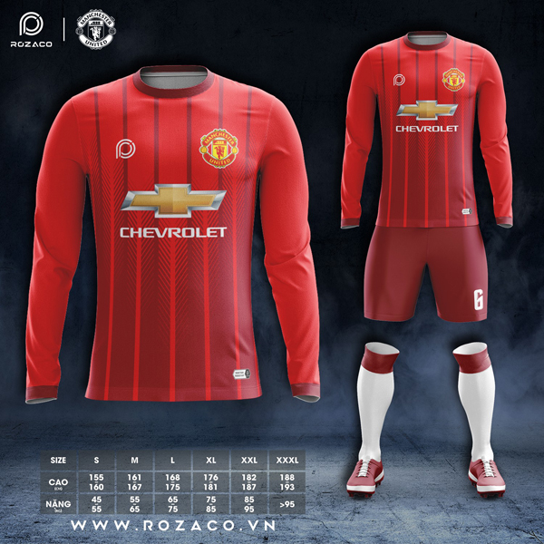 Áo câu lạc bộ MU dài tay màu đỏ