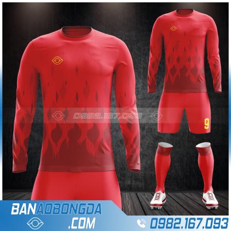 Áo bóng đá k logo dài tay màu đỏ đẹp