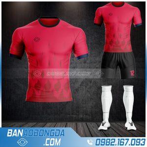 Áo đá banh không logo 2021 màu đỏ tự thiết kế đẹp