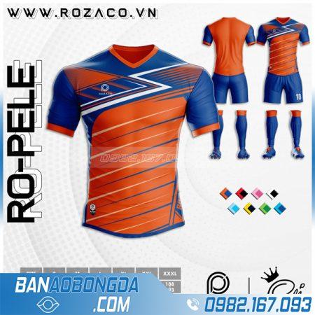 Áo đá banh không logo đẹp màu cam Ro - Pele