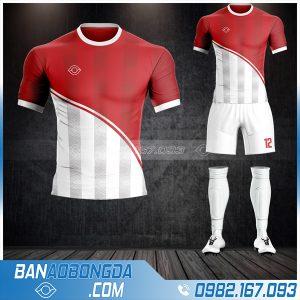 Áo đá banh không logo 2021 màu đỏ trắng HZ 22