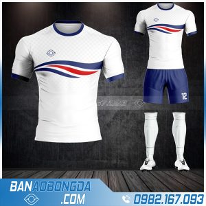 Áo bóng đá không logo cổ tròn màu trắng HZ 01