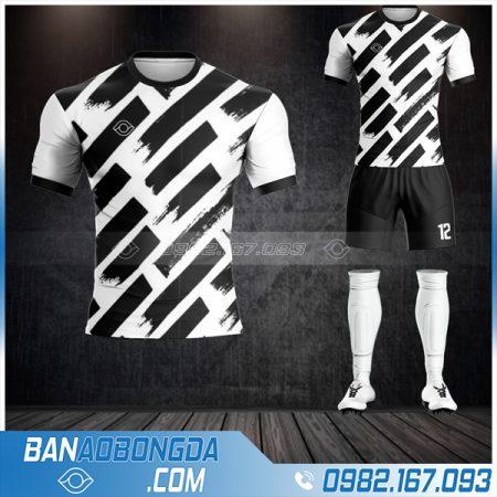 Áo bóng đá không logo giá rẻ màu đen trắng HZ 02