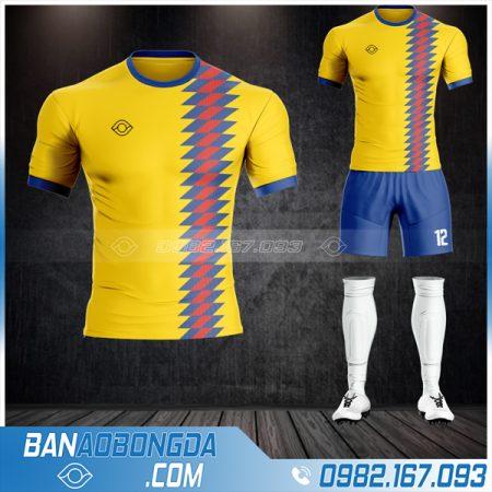 Quần áo bóng đá không logo màu vàng tự thiết kế
