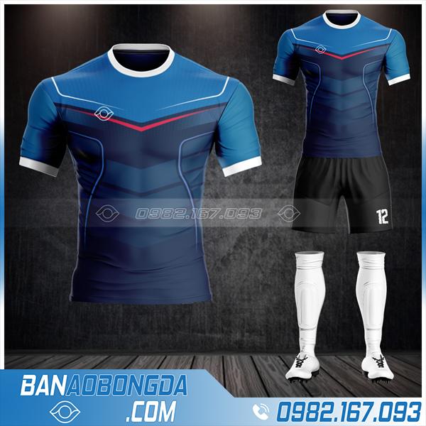 Mẫu áo bóng đá không logo đẹp màu xanh đen HZ 14