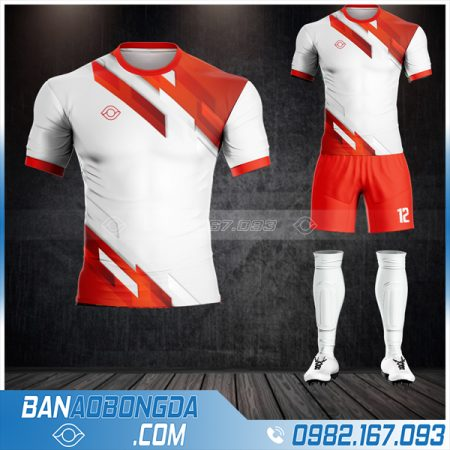 Áo bóng đá không logo màu đỏ trắng HZ 18 đẹp mắt