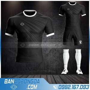 quần áo bóng đá không logo Hacazi màu đen