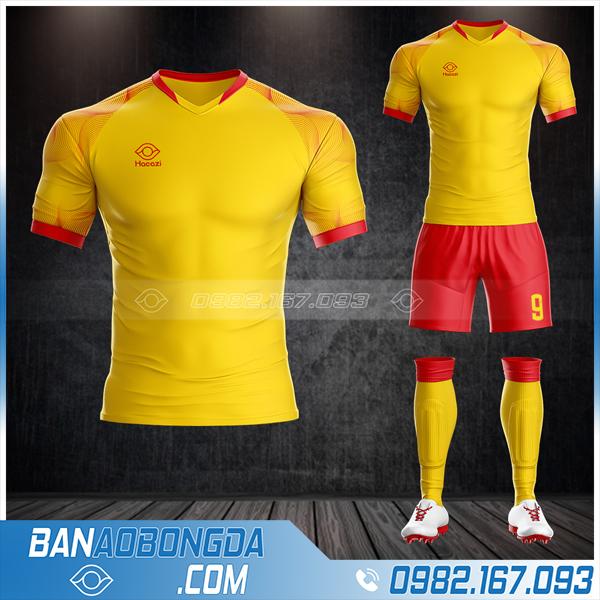 Quần áo bóng đá không logo Hacazi mới nhất màu vàng