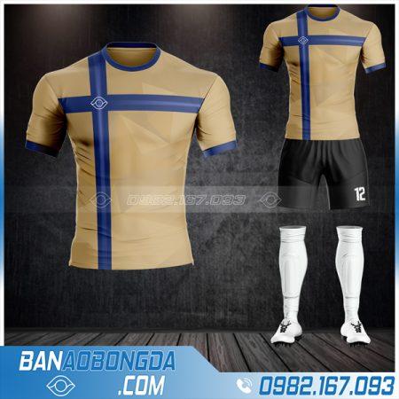 Quần áo bóng đá không logo màu vàng đồng cực đẹp HZ 34