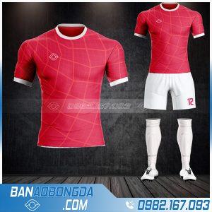 Mẫu áo bóng đá không logo thiết kế màu đỏ