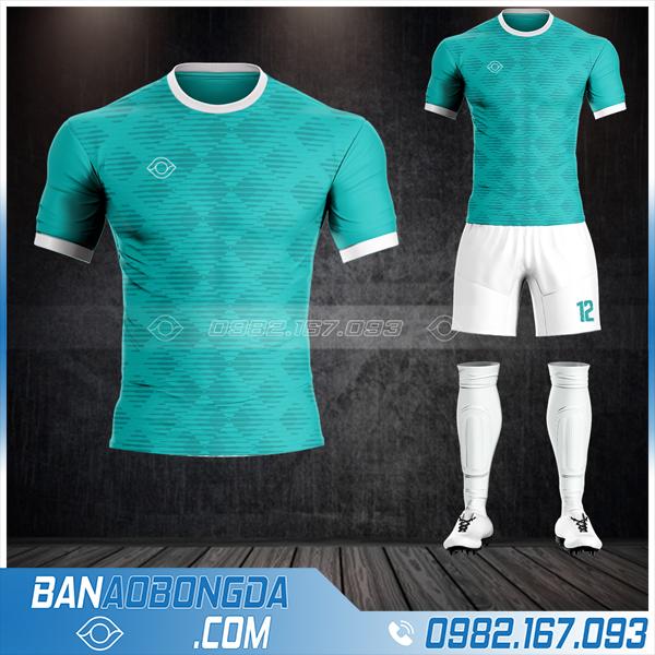 Quần áo bóng đá không logo cao cấp HZ13 màu xanh