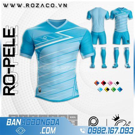 Mẫu áo bóng đá không logo màu xanh da trời HZ 37