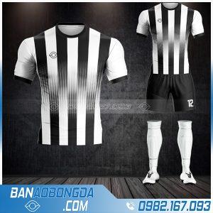 Áo đá bóng không logo màu đen trắng