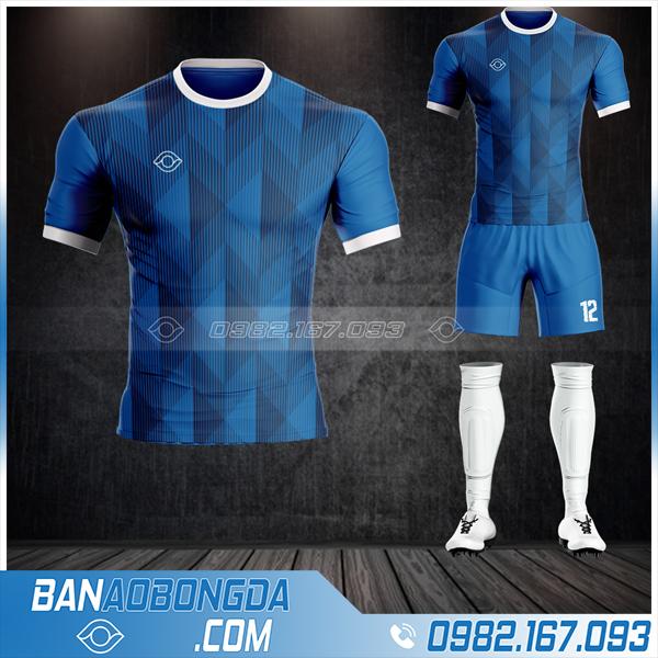 Quần áo đá bóng không logo màu xanh đen HZ 48