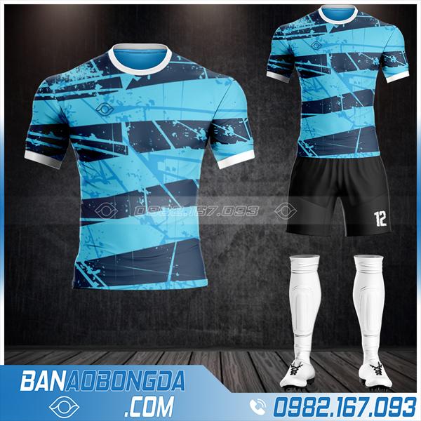 Mẫu áo đá bóng không logo màu xanh da trời HZ 50