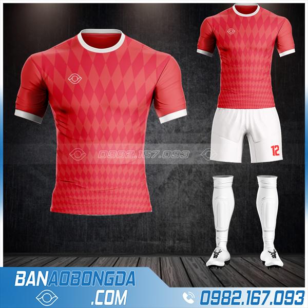 Mẫu thiết kế áo đấu bóng đá không logo màu đỏ đẹp
