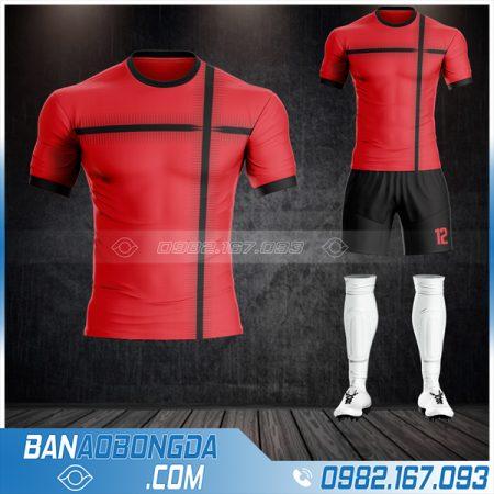 Mẫu áo bóng đá không logo màu đỏ tại Lào Cai HZ 63
