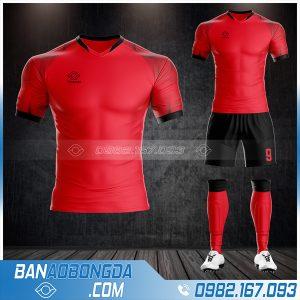 Áo bóng đá không logo tự thiết kế màu đỏ